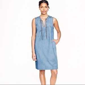 J. Crew embroidered denim Washed Chambray Dress